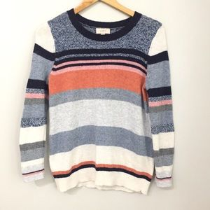 LOFT Coral & Navy Striped Sweater Size Small